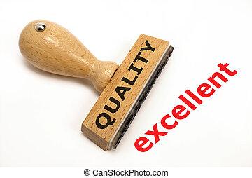 rubberstempel, opvallend, met, kwaliteit, uitstekend