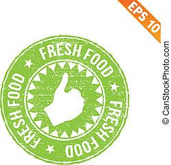 rubberstempel, voedingsmiddelen, -, vector, illustratie, -, eps10