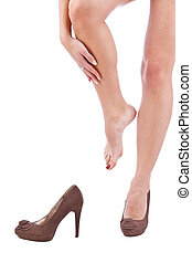 rubbing, mulher, dela, perna