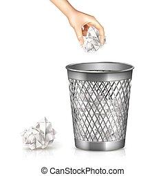 Rubbish Bin Illustration - Rubbish bin with hand and used...