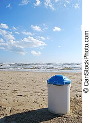 Rubbish bin on the beach