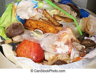 rubbish bin - kitchen bin with wasted food