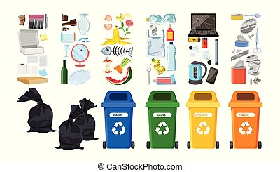 Rubbish bins for recycling different types of waste. Garbage containers vector set for infographics