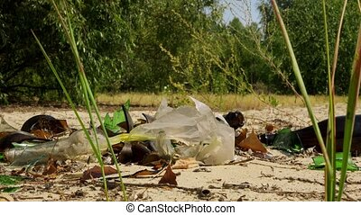 Rubbish, broken glass bottles and plastic on the ground in the forest.