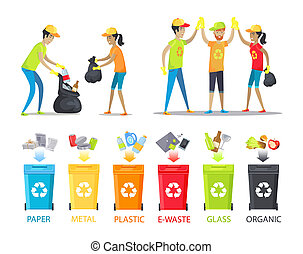 Rubbish Collecting and Allocation Vector Banner