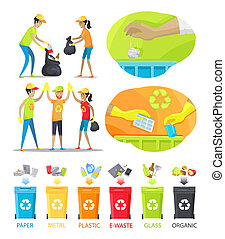 Rubbish Collecting and Sorting Vector Illustration