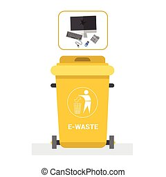 Rubbish Container For E-waste Icon Recycle Sorting Garbage Concept Logo