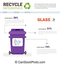 Rubbish Container For Glass Waste Infographic Banner Recycle Sorting Garbage Concept