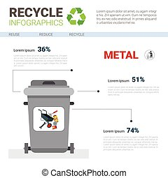Rubbish Container For Metal Waste Infographic Banner Recycle Sorting Garbage Concept