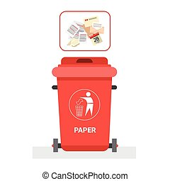 Rubbish Container For Paper Waste Icon Recycle Sorting Garbage Concept Logo