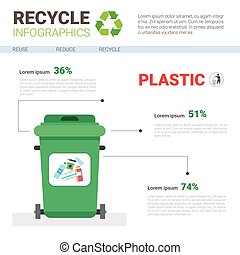 Rubbish Container For Plastic Waste Infographic Banner Recycle Sorting Garbage Concept