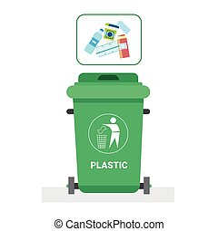 Rubbish Container For Plastic Waste Icon Recycle Sorting Garbage Concept Logo