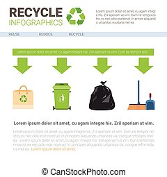 Rubbish Container For Sorting Waste Infographic Banner Recycle Garbage Concept