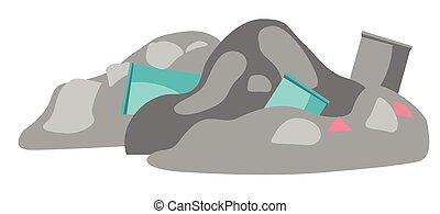 Rubbish dump vector cartoon illustration. - Rubbish dump...