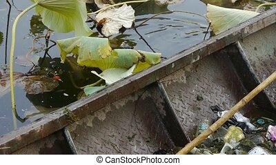 rubbish Garbage in Iron boat,Vast lotus pool,Fisherman clean...