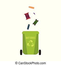 Rubbish green container with batteries waste and garbage for recycling.