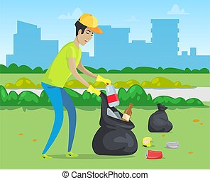 Rubbish in Park, Cleaning Environment, City Vector