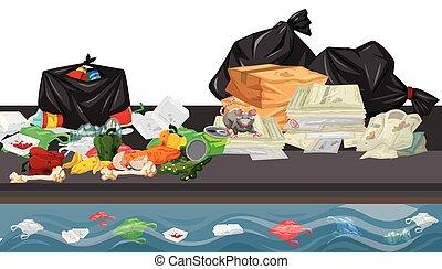 Rubbish in street scene illustration