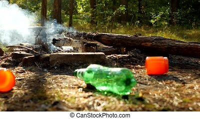 Rubbish left by people in a clearing in the woods, after...