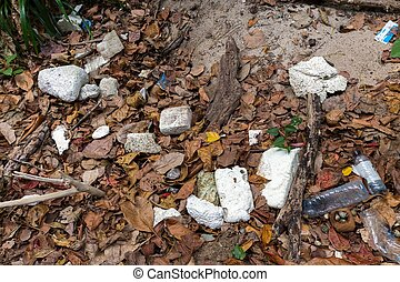 Rubbish plastic pollution