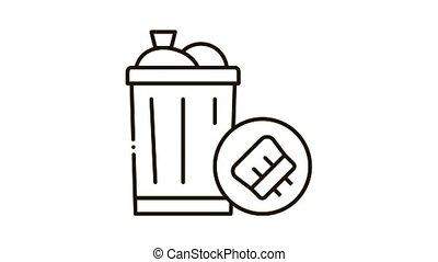 Rubbish Trash Can Icon Animation. black Rubbish Trash Can animated icon on white background