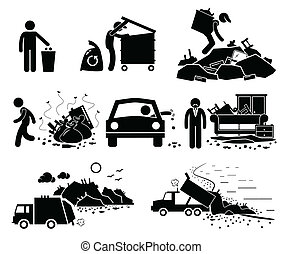 A set of pictogram representing rubbish problem in the world.