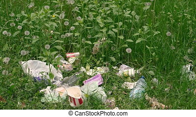 Rubbish. Trash with plastic lies on a green lawn.