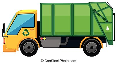 Rubbish truck on white background