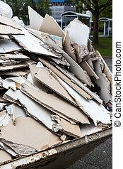rubble., ギプス, 板, 中に, ∥, 容器