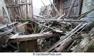 House destroyed by powerful earthquake - rubble and broken...