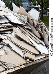 rubble. gypsum boards in the container