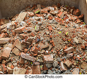 rubble lies in a container