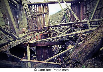 rubble of the destroyed House after the earthquake