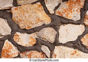 rubblestone, 壁, 背景, 手ざわり, パターン