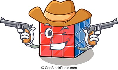 Rubic cube Cowboy cartoon concept having guns