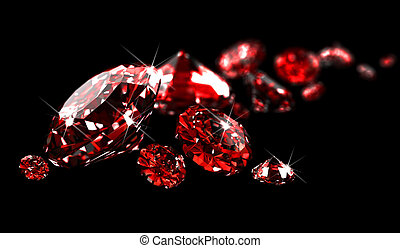 Rubies on black surface made in 3D