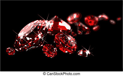 Rubies on black surface (vector) - Rubies on black surface...