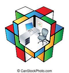 rubik, cubículo escritório
