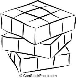 Rubik cube drawing, illustration, vector on white background