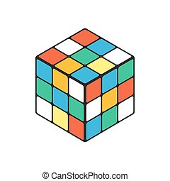 Rubik cube in isometry isolated on a white background.