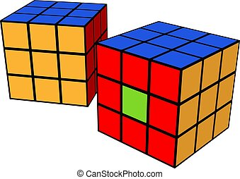 Rubik cube toy vector or color illustration
