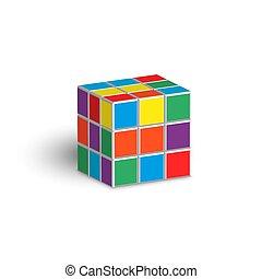 Rubik cube unsolved puzzle 3d isometric shape vector illustration isolated on white background.