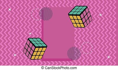 rubik cubes in memphis retro style background ,4k video animated