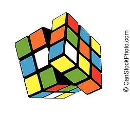 rubik's cub - Rubik's cube isolated, still life vector...