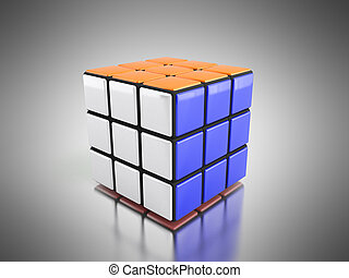 Rubik's cube 3d render on the grey background
