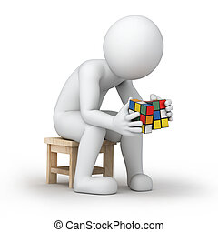 Rubik's cube - 3d image with work path