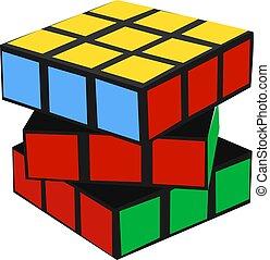 Rubiks cube, illustration, vector on white background.