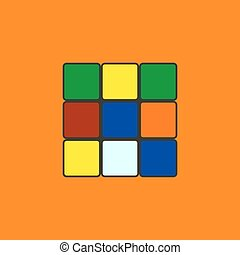 Rubik's cube in a flat style, vector illustration.