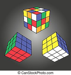 Rubik's cube in different positions realistically isolated. Editorial isometric illustration. Rubik's Cube is a combined 3D puzzle, invented in 1974 by Professor Erno Rubik. Vector