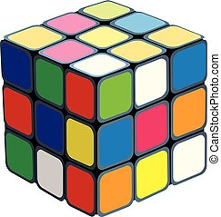 rubik's, cube., isolé, blanc, fond